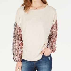 Gypsies & Moondust Waffle-Knit Sheer-Sleeve Top